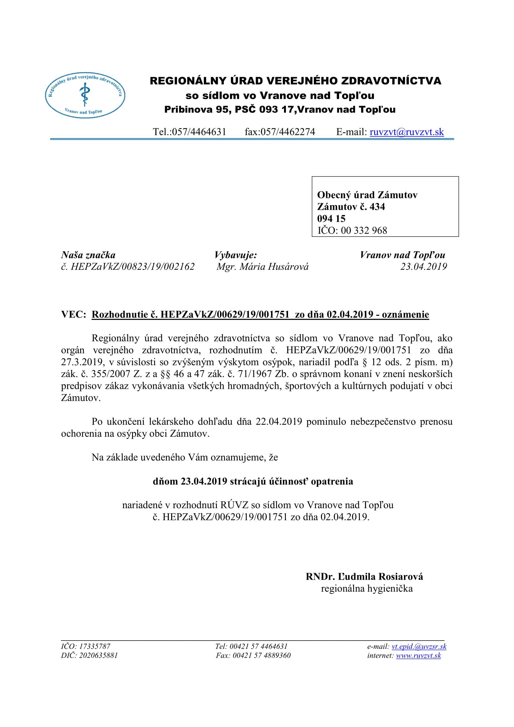 Rozhodnutie o ukončení zákazu vykonávania hromadných podujatí v obci Zámutov